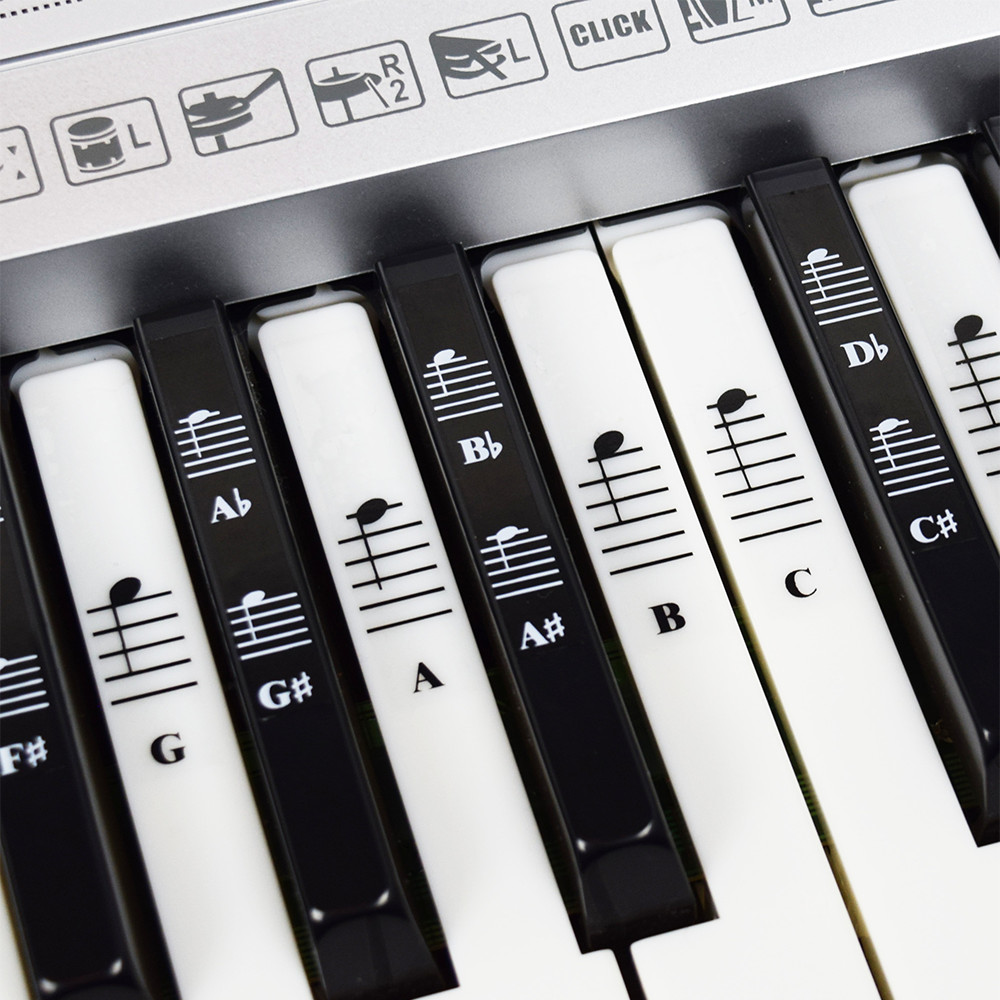 piano and keyboard music note full set stickers for white