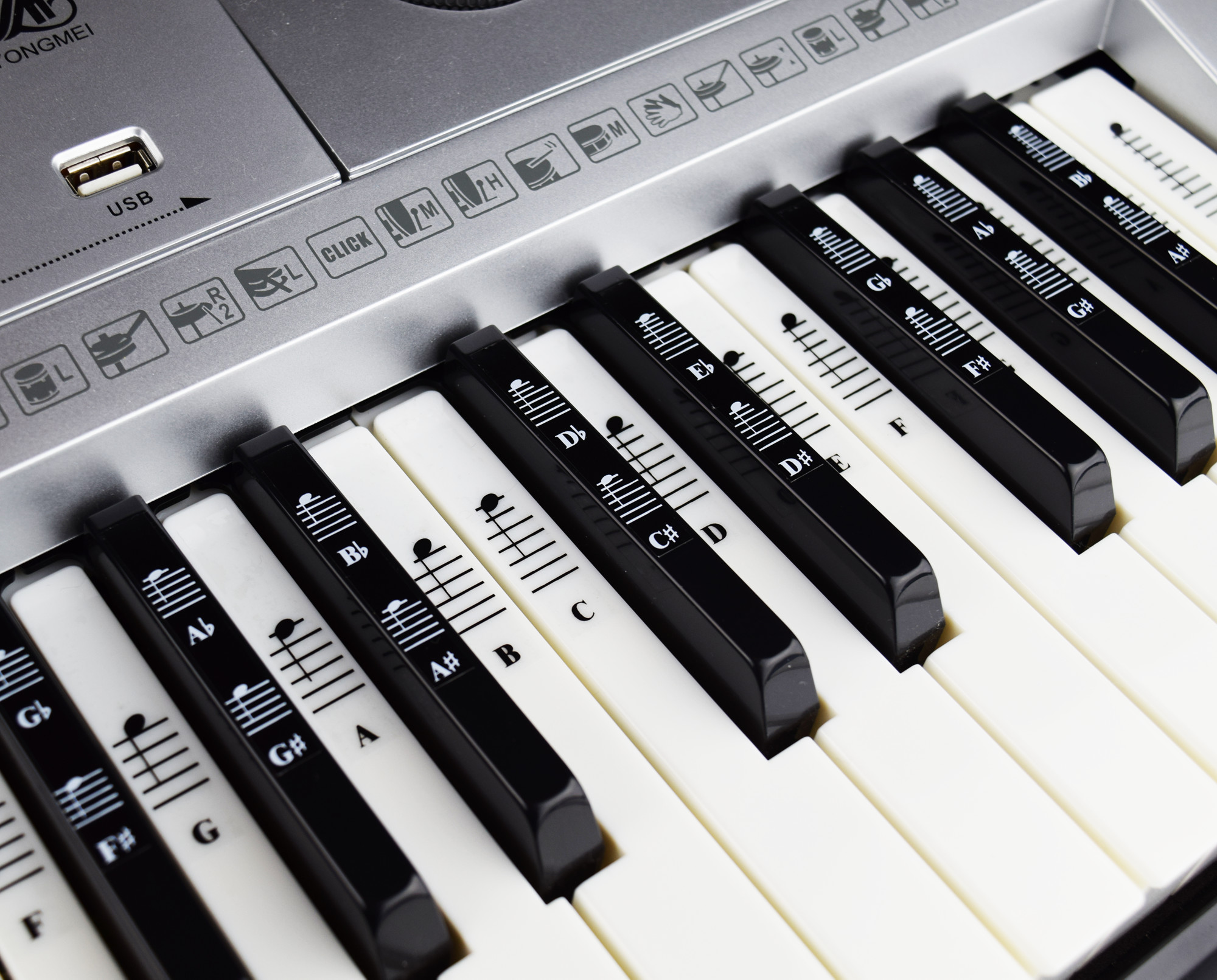 piano and keyboard music note full set stickers for white and black